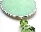 Seafoam Green Round Christmas Ornament Soldered Stained Glass