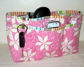 Large Purse Organizer Insert With Enclosed Bottom Pink and White Floral