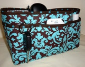 """Purse Organizer Insert With 4"""" Depth Enclosed Bottom/Quilted/ Large/ Brown and Blue Damask"""