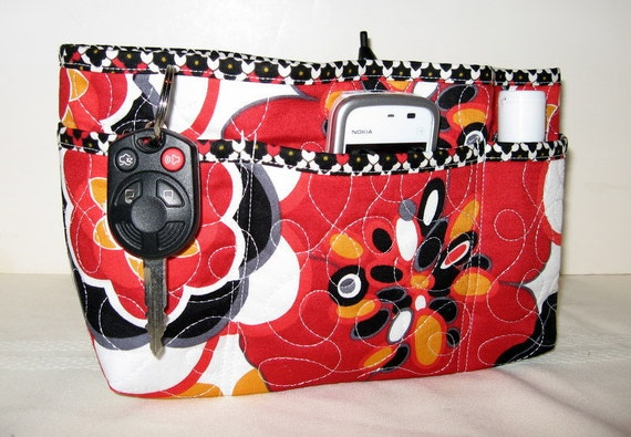 Quilted Purse Organizer Insert  Red Black Gold Large Bold  Floral