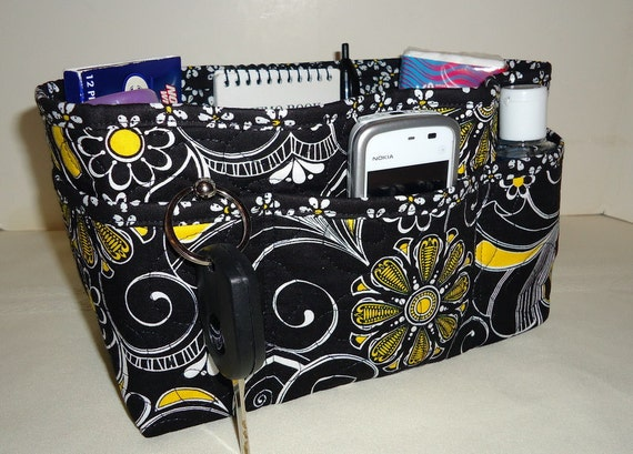 "Purse Organizer Insert With Enclosed Bottom -New 4"" Depth - Black Floral & Scroll Print"