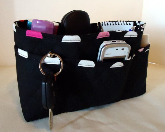 Large  Purse Organizer Insert with Enclosed Bottom - Black Double Faced Quilted