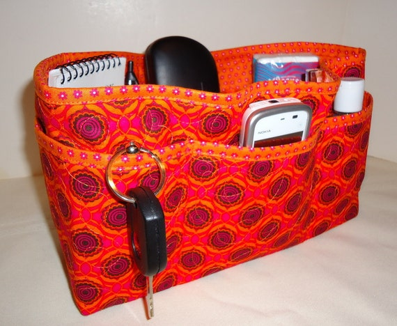 """Quilted Large Purse Organizer Insert With 4"""" Depth Enclosed Bottom  Bright Orange and Pink Clearance 40% Off"""