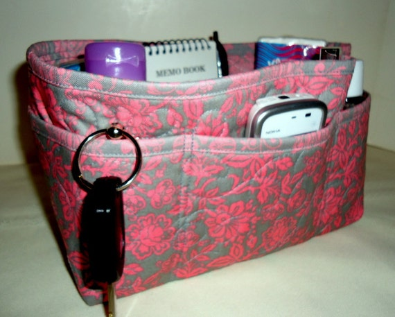 """Purse Organizer Insert With Enclosed Bottom -New 4"""" Depth - Pink and Grey"""
