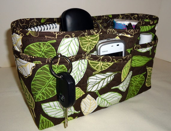 "Quilted Large Purse Organizer Insert With 4"" Depth Enclosed Bottom - Green Leaves on Brown"