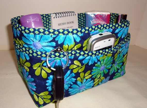 """Purse Organizer Insert With Enclosed Bottom -New 4"""" Depth -Shades of Blue & Green on Navy"""