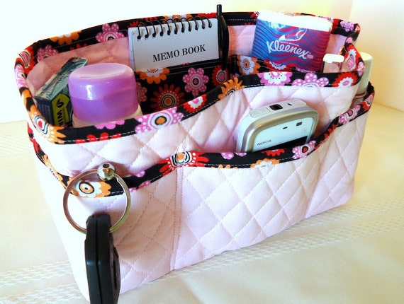 "Quilted Purse Organizer Insert With 4"" Depth Enclosed Bottom - Pale Pink With Black Floral"