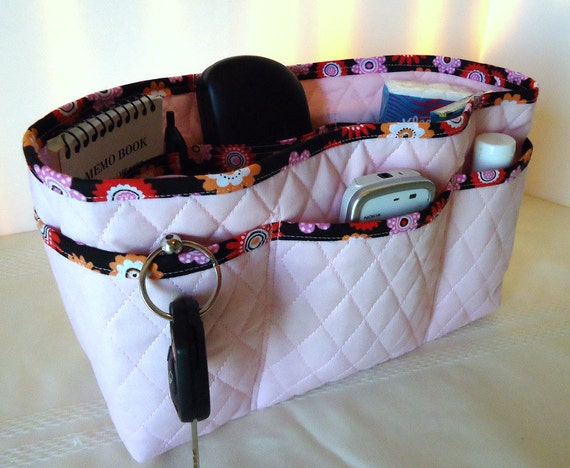Large  Purse Organizer Insert with Enclosed Bottom - Pale Pink Double Faced Quilted with Black Floral