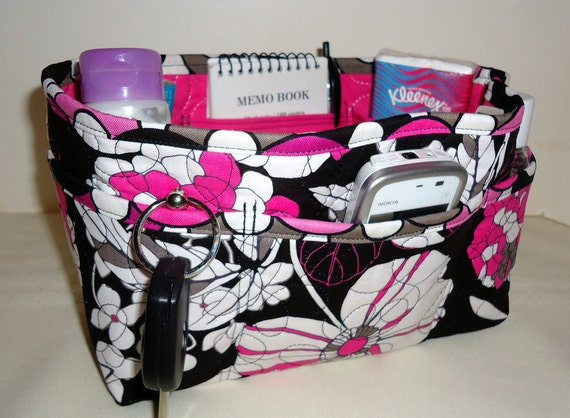 "Purse Organizer Insert With Enclosed Bottom -New 4"" Depth - Black With Hot Pink and White Flowers"
