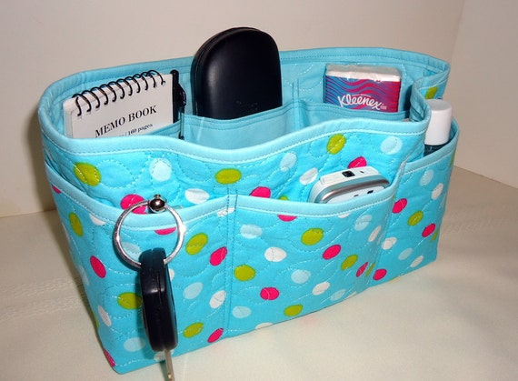 Quilted Purse Organizer Insert With Enclosed Bottom Large - Turquoise Polka Dot - Clearance 40% Off
