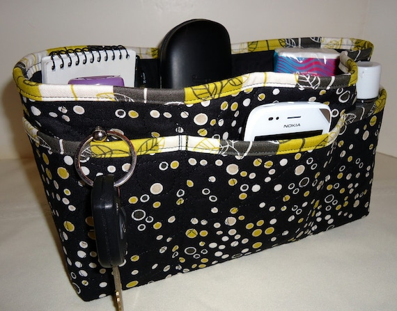 Quilted Purse Organizer Insert With Enclosed Bottom Large -  Black and Gold Polka Dot