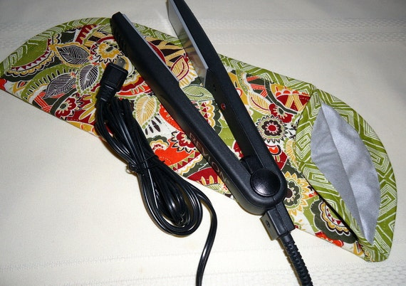 Quilted Flat Iron or Curling Iron Cover  Green Multi-Colored Print