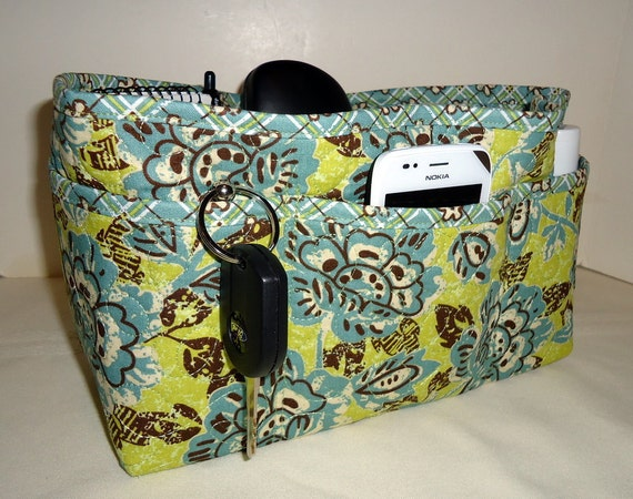 """Purse Organizer Insert/Quilted/Large/ 4"""" Depth Enclosed Bottom/Lime Green and Slate Blue"""