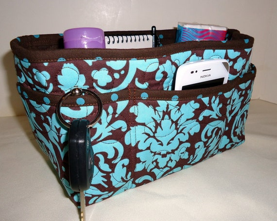 """Purse Organizer Insert With Enclosed Bottom -New 4"""" Depth  -  Brown and Blue Damask"""