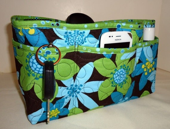 Quilted Purse Organizer Insert With Enclosed Bottom Large - Bold Green Blue and Brown Floral