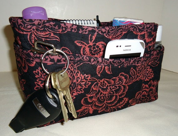 """Purse Organizer Insert/Quilted/Enclosed Bottom/4"""" Depth/Black and Dusty Rose Floral"""