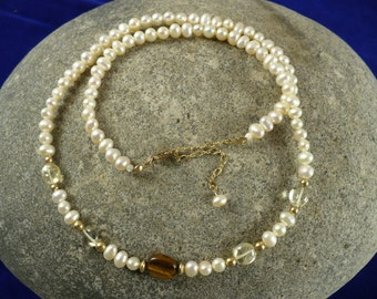 Fresh water pearl necklace, with tiger eye, citrine, and gold-filled accents