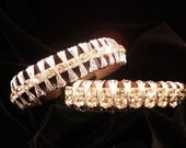 Stunning leather and rhinestone cuff - single strand custom made - Urban Hardwear
