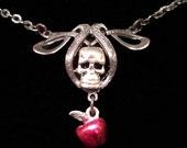 Halloween Snow White Poison Apple silver  Necklace