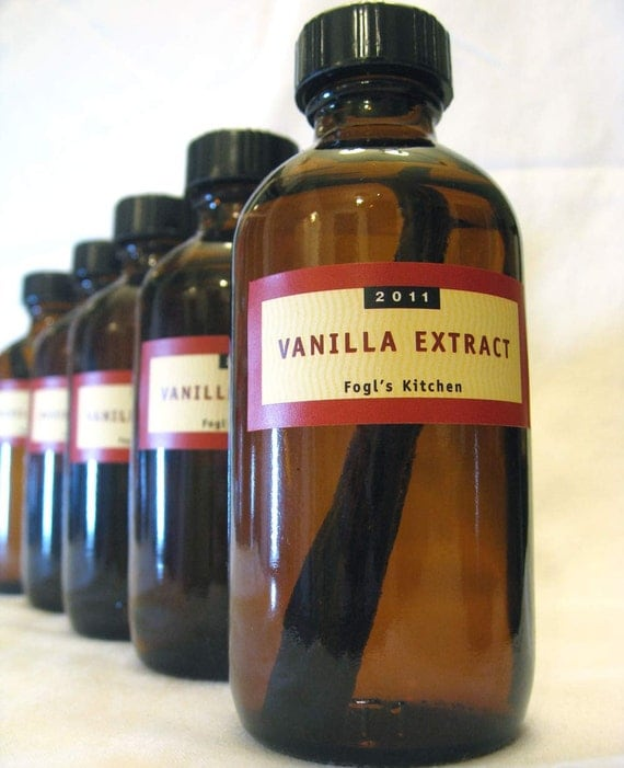 Homemade Vanilla Extract 4oz Bottle Beans Inside