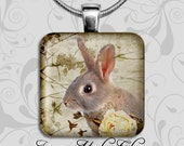 DWARF BUNNY  - Handmade Recycled Glass Image Pendant with a FREE 18 inch Snake Chain