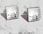 Robots are Cool - Pair of Handmade Recycled Glass Image Cufflinks in Silver Tone