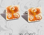 Fiery Phoenix - Pair of Handmade Recycled Glass Image Cufflinks in Silver Tone