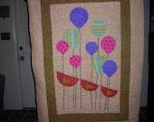Crib Size Quilt, Lap size quilt, baby blanket, quilt size 50 x 35, sale, balloons, birds