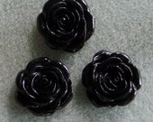 4pcs Black Acrylic Lucite Rose Flower Cabochon 21mm SALE 928-x