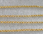 Gold Plated Round Rolo Chain 2mm 371-G