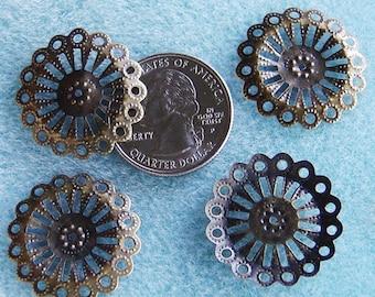 Antique Bronze Round Filigree 25mm Nickel Free 327
