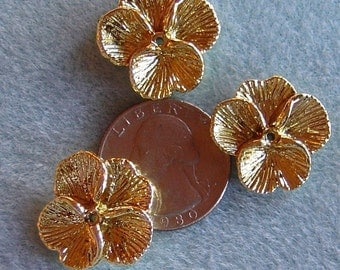 Lucite Acrylic Gold Pansy Flower Cap Beads 22mm 425