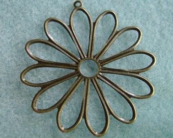 Antique Bronze Daisy Filigree Pendants 45mm Lead Free 531