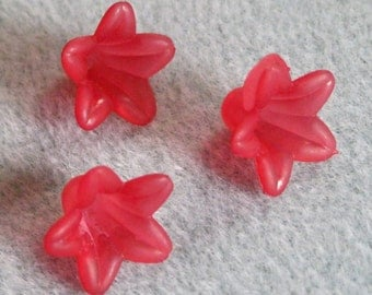 Christmas Red Frosted Lucite Acrylic Flower Cap Beads 12mm x 18mm 410