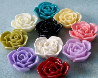 Acrylic Lucite Resin Rose Flower Cabochon You Choose Colors 20mm 908