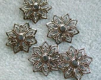 Gunmetal Silver Starburst Filigree Bead Caps 18mm Nickel Free 504
