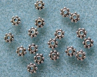 Antique Silver Daisy Spacer Bead 4.3mm Lead Free 820