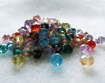 Faceted Glass Crystal Rondelle Bead Mix Choose Colors 4mm x 6mm 905