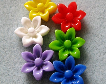 Acrylic Lucite Resin Daisy Flower Cabochons Small You Choose Colors 17mm 911