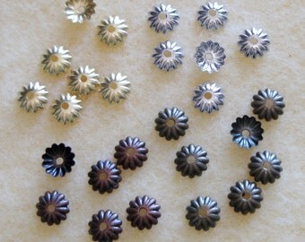 Fluted Brass Bronze Copper Silver Bead Caps 6mm Mix Lead Free 331