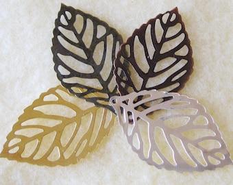 Leaf Filigree Mix You Choose Finish 35mm x 20mm 540