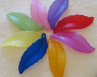 Matte Frosted Lucite Acrylic Leaf Beads You Choose Colors 444