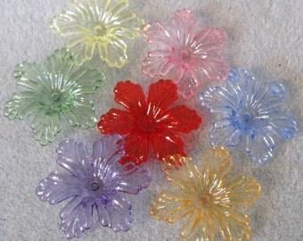 Transparent  Lucite Acrylic Flower Cap Bead Mix 27mm 445