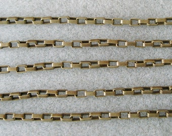 Antique Bronze Long Box Link Chain 5mm x 3.5mm Nickle and Lead Free 394