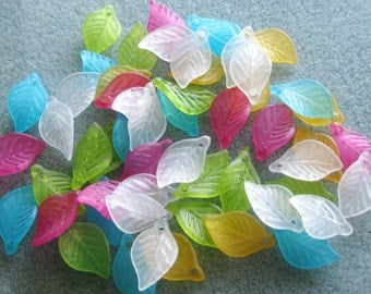 Frosted Lucite Acrylic Leaves Choose Your Colors 11mm x 18mm 407