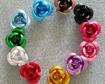 You Pick Colors and Quantity Aluminum Flower Beads 11mm 203