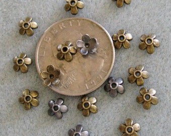 Antique Bronze or Silver Bead Caps 6mm Mix 330