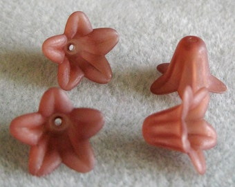 Dark Brown Frosted Lucite Acrylic Flower Cap Beads 12mm x 18mm Sale 410