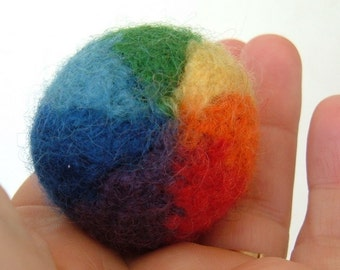 Felted Beach Ball Key Ring or Charm