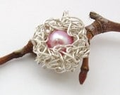 Bird's Nest Pendant -- Sterling Silver and Pink Pearl Egg